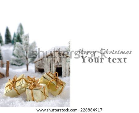 Christmas card showing a winter landscape