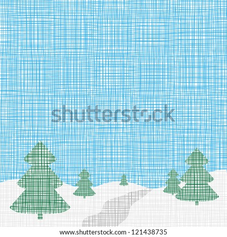 Christmas card template. Background. Linen, folk, retro