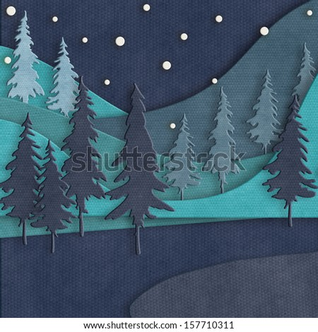 Christmas card template. Paper cut Christmas design. Paper art winter landscape