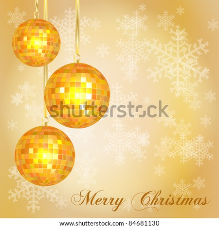 Christmas card template with vintage style disco balls and snowflake background. Space for your text. Also available in EPS10 vector format.