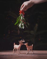 Christmas card. Two cute little toy deer under mistletoe