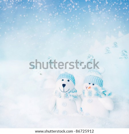 Christmas card. Winter background with polar bear and snowman and star  in the night
