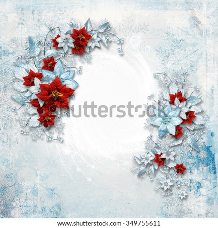 Christmas card with a beautiful vintage poinsettia