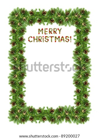 Christmas card with a christmas ornament isolated on white background