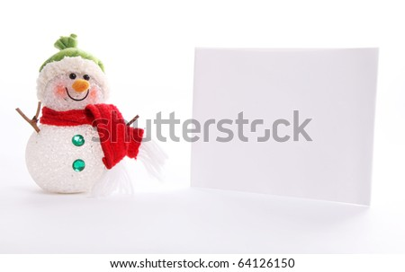Christmas Card with a snowman over white background #64126150
