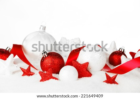 Christmas card with beautiful decorations in snow isolated on white