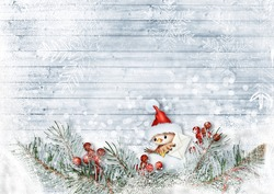 Christmas card with beautiful holiday decor and bird with santa