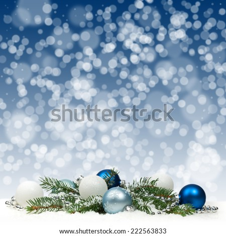 Christmas card with blue and white balls