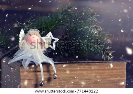 Christmas card with Christmas angel #771448222
