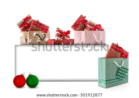 Christmas card with Christmas balls and gifts to label #501912877