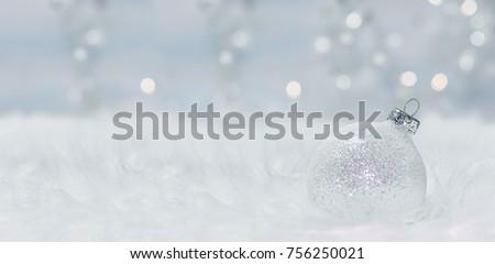 Christmas card with christmas balls. Panoramic image #756250021