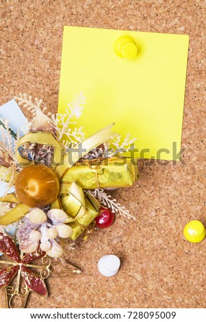 christmas card with christmas baubles #728095009