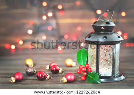 Christmas card with Christmas decoration   #1229262064