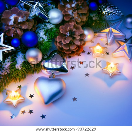 Christmas card with Christmas decorations blue background