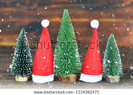 Christmas card with Christmas decorations on wooden background  #1154382475