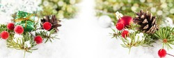 Christmas card with Christmas decorations with place for text. Christmas composition banner