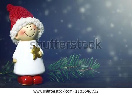 Christmas card with Christmas elf #1183646902
