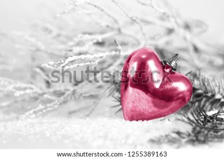 Christmas card with Christmas heart ornament             #1255389163