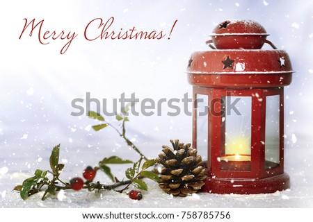 Christmas card with Christmas lantern #758785756