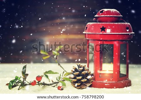 Christmas card with Christmas lantern and Christmas decoration - Shutterstock ID 758798200
