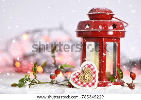 Christmas card with Christmas lantern and Christmas heart ornament #765345229