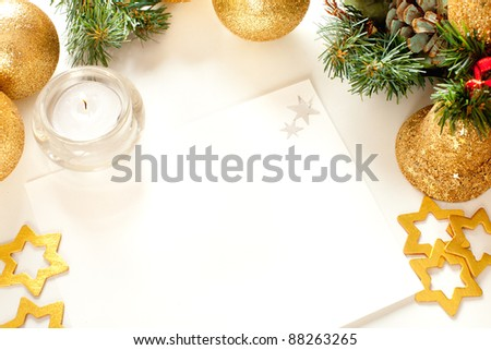 Christmas card with  Christmas ornaments  and Christmas balls. White blank  with space for text.