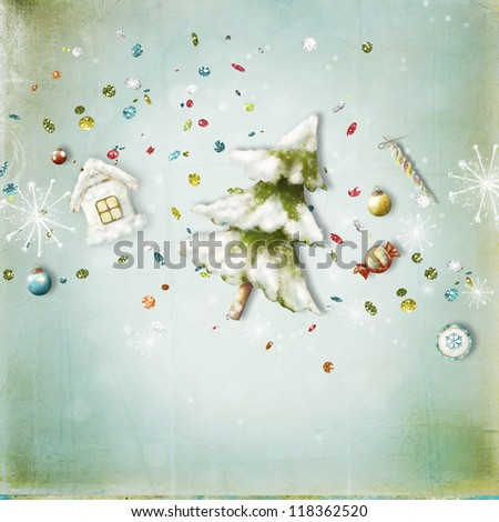 Christmas card with  Christmas tree, candy, house, sweets