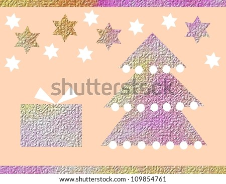 Christmas card with Christmas tree, gift and stars
