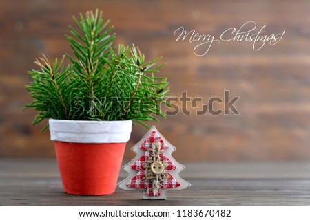 Christmas card with Christmas tree in the pot #1183670482