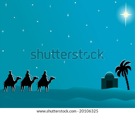 Christmas card with copyspace to message on three wisemen going to Bethlehem following the brighten star