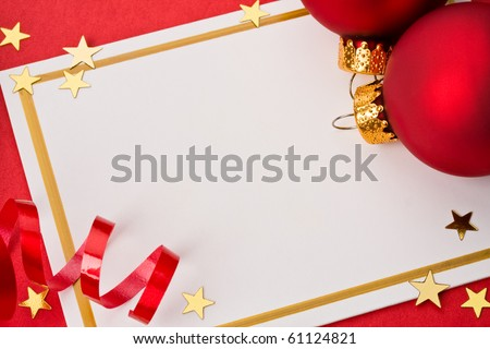 Christmas card with decoration on red background. Ready to drop  your words.