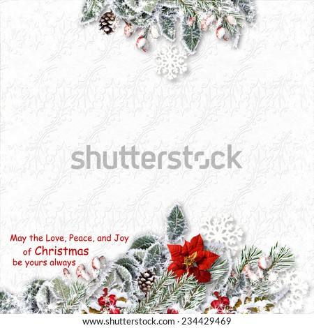 Christmas card with decorations on a white textured background w