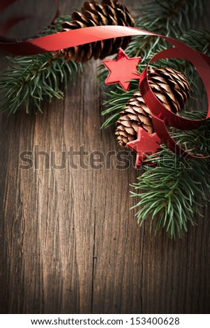 christmas card with fir and copy space
