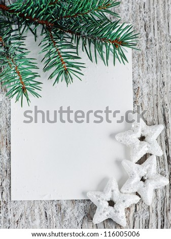 Christmas card with fir branch
