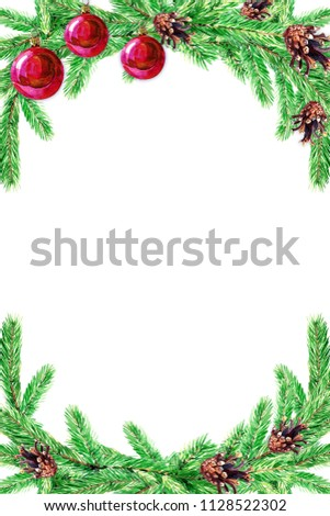 Christmas card with fir branches. Watercolor illustration for Christmas with space for text. #1128522302
