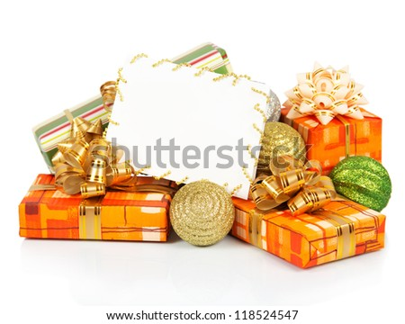 Christmas card with gift boxes and colorful balls isolated on white