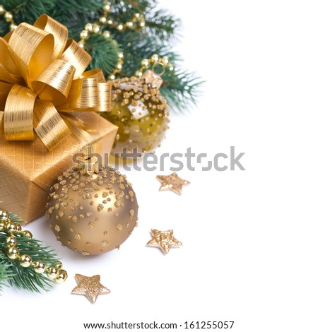 Christmas card with golden gift box and decorations, isolated on white, ready template