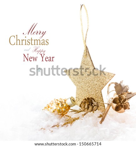 Christmas card with golden star and decorations isolated on a white background (with easy removable sample text)