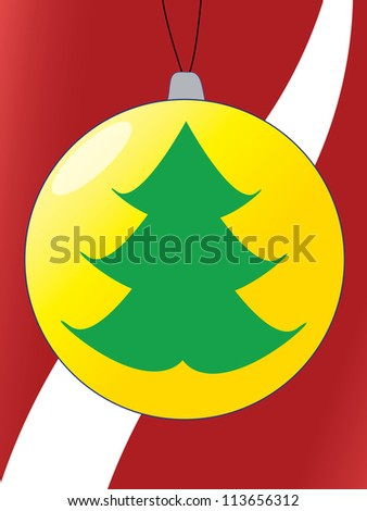 Christmas Card with Green Christmas Tree in One ball