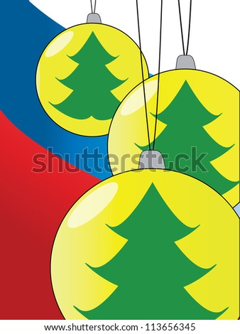 Christmas Card with Green Christmas Tree in Three Holiday Balls