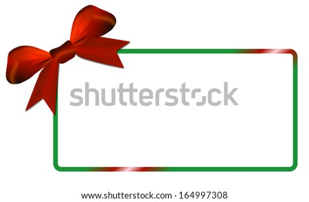 Christmas card with green frame, white paper with red bow,copy space