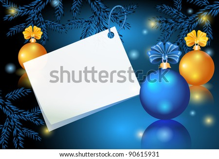 Christmas card with paper and balls. Raster version of vector.