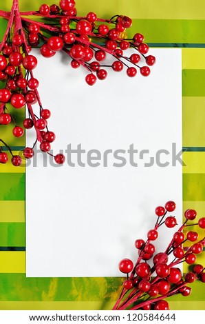 Christmas card with red branches
