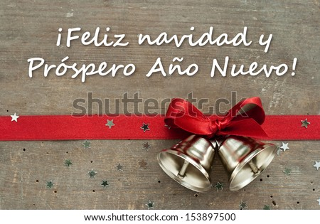 Christmas Card With Red Loop, Bells And Stars/Merry Christmas A ...