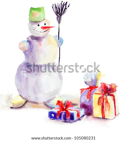 Christmas card with snowman, watercolor painting