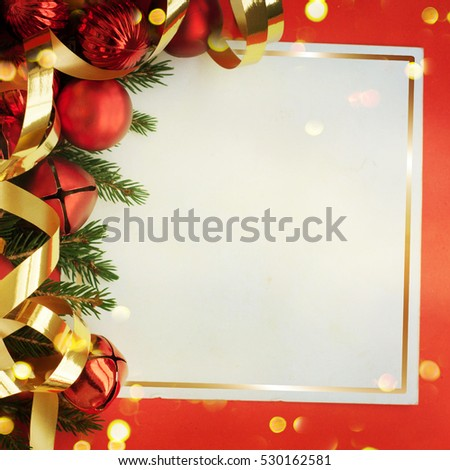 Christmas card with space and christmas decoration #530162581