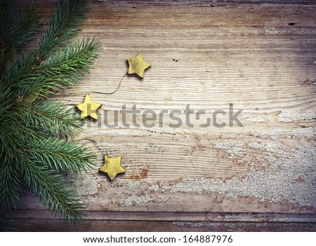 christmas card with stars,fir and fir-cone on wooden background/ Christmas card with christmas natural decorations #164887976