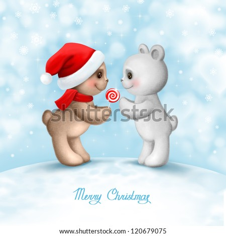 Christmas card with two teddy bears in love