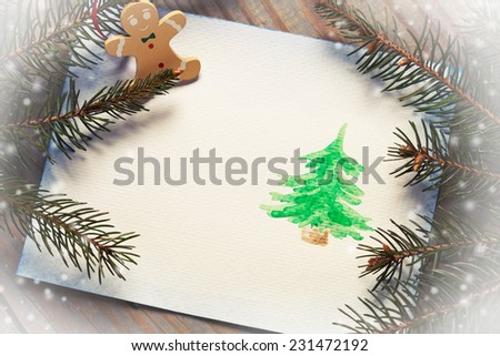 Christmas card with watercolor drawing and copy space