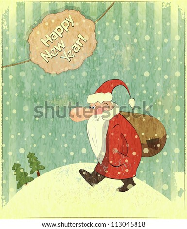 Christmas cards with Santa and text Happy New Year - New Year postcard in Retro style - JPEG version - stock photo